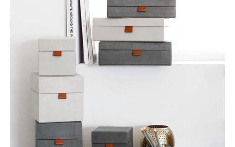 MONOGRAPH Úložný box na dokumenty Dark grey/Beige Tmavě šedý - menší, béžová barva, šedá barva, papír