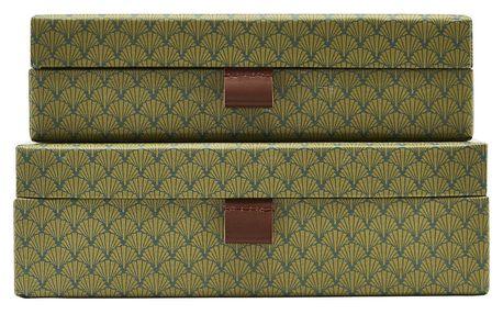 House Doctor Úložný box Fan Green Menší, zelená barva, papír, kůže