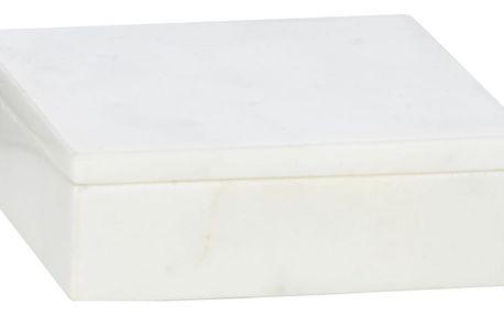 MADAM STOLTZ Mramorový box s víčkem, bílá barva, mramor