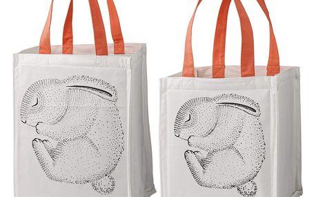 Bloomingville Úložný textilní box pro děti Rabbit Větší, oranžová barva, bílá barva, textil