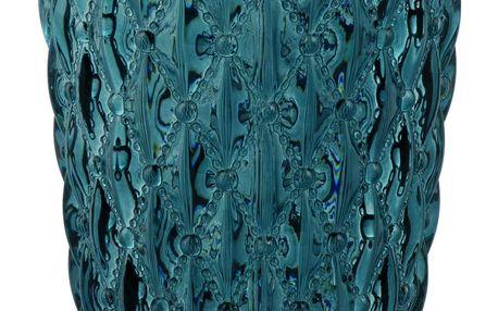 Blossom Skleněný svícen Crystal Blue, modrá barva, sklo
