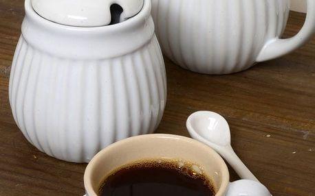 IB LAURSEN Šálek s podšálkem Mini Mynte Pure White, bílá barva, keramika