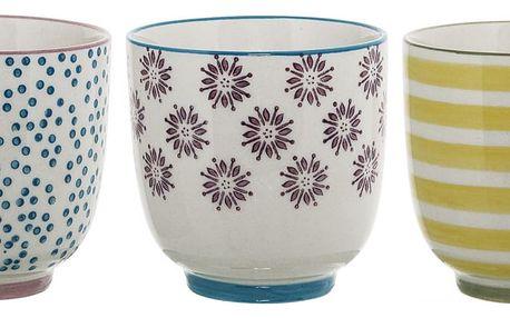 Bloomingville Keramický kalíšek Patrizia Fialové kytičky, fialová barva, modrá barva, žlutá barva, keramika