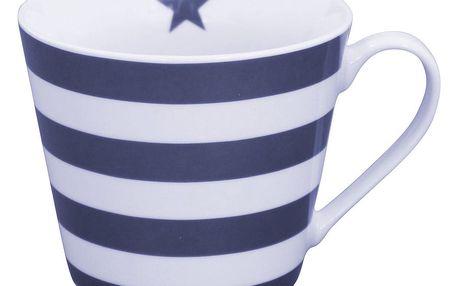 Krasilnikoff Hrneček Dark Blue Stripes, modrá barva, bílá barva, porcelán