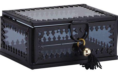 MADAM STOLTZ Skleněná krabička Orient Black/black - menší, černá barva, sklo, kov