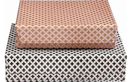GREEN GATE Papírová krabička Sasha Menší - růžová, růžová barva, černá barva, bílá barva, zlatá barva, papír
