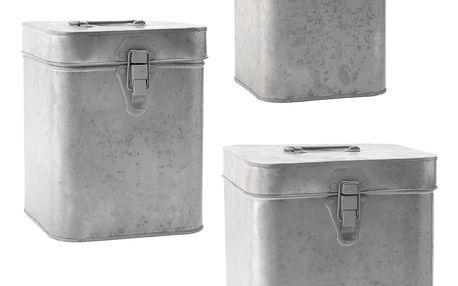 MADAM STOLTZ Zinkový úložný box Velikost M, šedá barva, zinek
