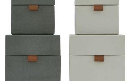MONOGRAPH Úložný box (kostka) Dark grey/Beige Tmavě šedý - menší, béžová barva, šedá barva, papír