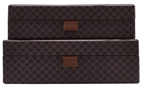 House Doctor Úložný box Arches Purple Větší, fialová barva, hnědá barva, papír, kůže