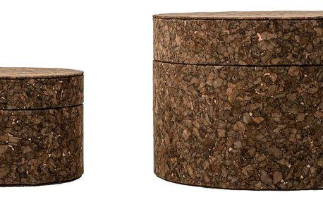 Bloomingville Kulatá krabička Dark Cork Menší, hnědá barva, korek