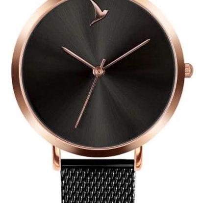 Dámské hodinky s černým páskem z nerezové oceli Emily Westwood Black Mosaz