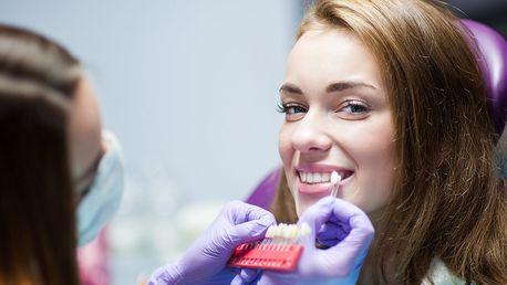 Měření odstínu zubů a bělení gelem Pearl Smile