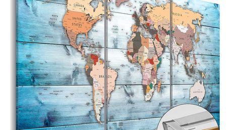 Vícedílná nástěnka s mapou světa Artgeist Sapphire Travels, 120x80cm