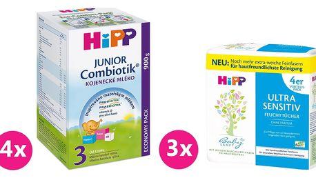 4x HIPP 3 BIO Combiotik (900 g) + 3x HIPP Babysanft vlhčené ubrousky 4x52 ks