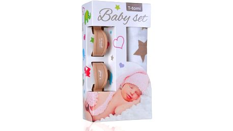 T-TOMI Baby set - bambusová osuška + kočárkový kolíček, béžová/hvězdičky