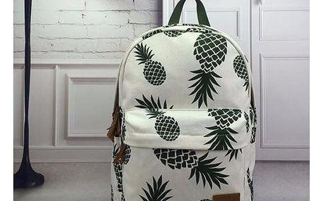 Bílý batoh s potiskem Pineapple