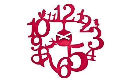 Koziol Nástěnné hodiny PI:P červená, pr. 45 cm