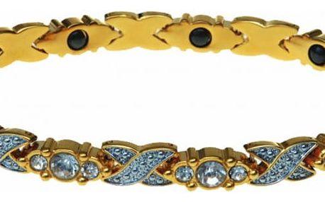 Modom Magnetický náramek s kamínky, zlatá