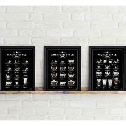 Sada 3 plakátů Follygraph Coffee Prints, 21x30cm