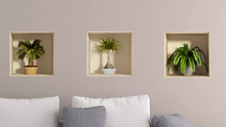 Sada 3 samolepek s 3D efektem Ambiance Palms