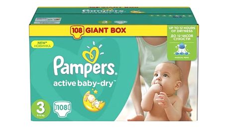Plenky Pampers Active Baby-dry vel. 3 Midi, 108ks