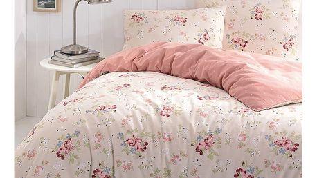 Lososově růžové povlečení na dvoulůžko s prostěradlem Cindy, 200 x 220 cm - doprava zdarma!