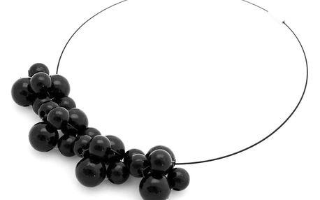 Černý dřevěný náhrdelník Ko–ra–le Bubbles