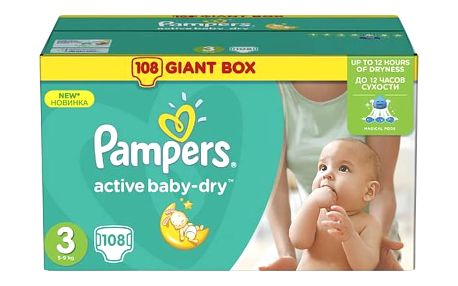 Plenky Pampers Active Baby-dry vel. 3 Midi, 108ks