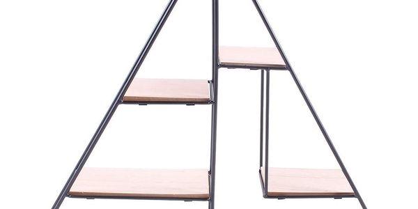 La finesse Kovová polička Triangle, černá barva, hnědá barva, kov, dřevotříska