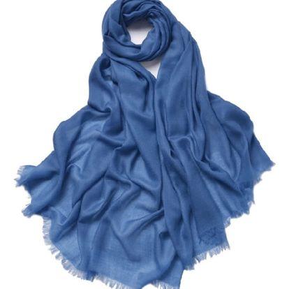 Modrá tenká kašmírová šála Bel cashmere Clara, 200x90cm - doprava zdarma!