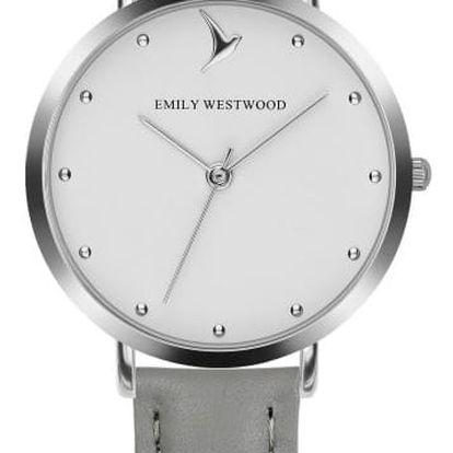 Dámské hodinky s šedým páskem z pravé kůže Emily Westwood Meeting