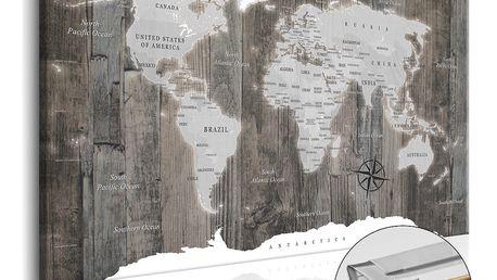 Nástěnka s mapou světa Artgeist World of Wood, 90x60cm