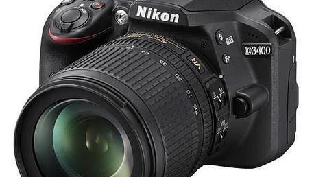 Digitální fotoaparát Nikon D3400 + 18-105 AF-S DX VR + 4x čištění čipu zdarma (VBA490K003) černý + Cashback 1300 Kč + Doprava zdarma