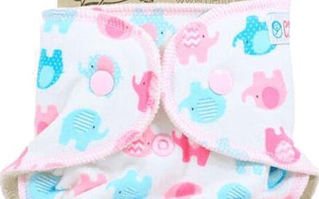 PETIT LULU Novorozenecká plenka (2-6kg) – Sloníci tyrkys-růžoví
