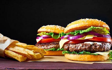 2x 250gramový hovězí burger s hranolkami v restauraci Plachetnice v Plzni