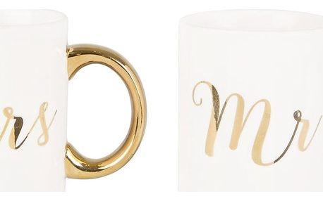 sass & belle Hrnek Gold Mr & Mrs Mrs, bílá barva, zlatá barva, porcelán