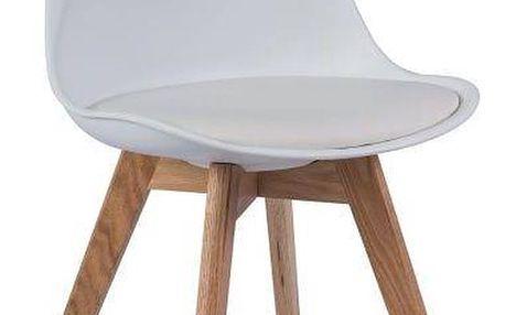 Bílá židle s dubovými nohami Signal Kris - doprava zdarma!