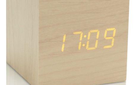 Světle hnědý budík se žlutým LED displejem Gingko Cube Click Clock