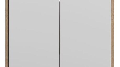 Bílá koupelnová skříňka s hnědým korpusem Symbiosis Auben,výška59,2cm - doprava zdarma!