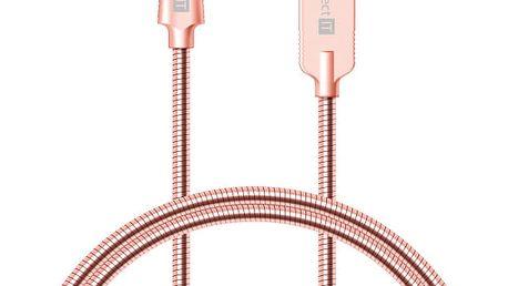 Kabel Connect IT Wirez Steel Knight USB-C, 1m, ocelový, opletený (CCA-5010-RG) růžový/zlatý