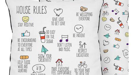 Polštář Pillow House Rules, 45 x 45 cm
