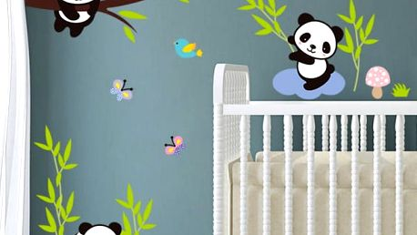 Samolepka na zeď - Pandy v přírodě - dodání do 2 dnů