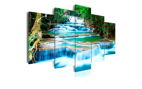 Vícedílný obraz na plátně Artgeist Blue Waterfall 200x100cm - doprava zdarma!