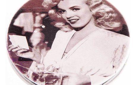 Kapesní kulaté zrcátko Marilyn Monroe kovové hnědé