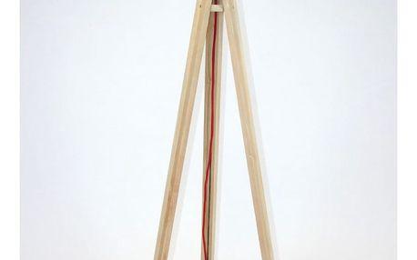 Stojací lampa s bílým stínítkem a červeným kabelem Ragaba Wanda - doprava zdarma!