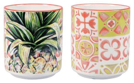 Sada 2 porcelánových hrnků bez ucha Sema Tropical
