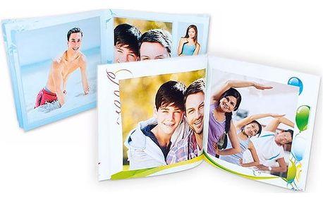Fotokniha v sešitové vazbě s vlastními fotografiemi v různých rozměrech