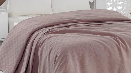 Lehký přehoz přes postel Pique Brown, 200x240cm