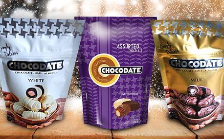 Bio datle ve 3 druzích čokolády plněné mandlí
