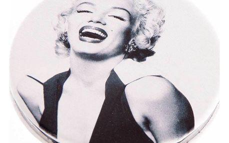 Kapesní kulaté zrcátko Marilyn Monroe Laughing kovové hnědé